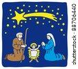Christmas crib - stock vector