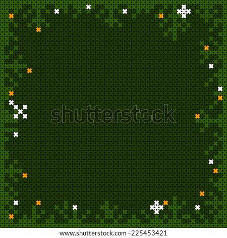 christmas cross-stitch frame with pine branches and snow flakes - stock vector