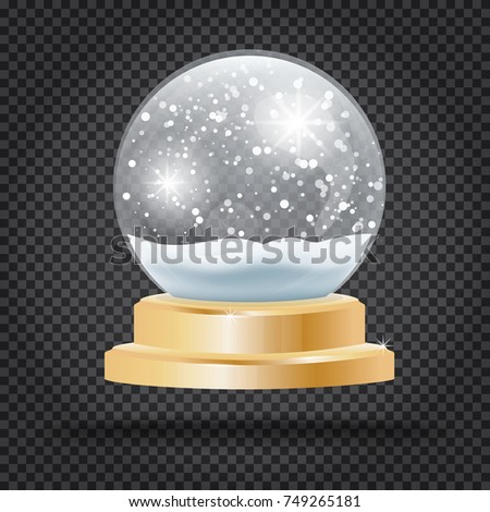 Christmas Crystal Ball with Snow on Transparent Background. Vector Illustration.