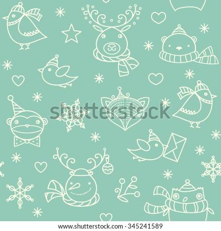 Christmas cute animals, birds, snowman, snowflakes, stars background. Vector green linear seamless pattern. - stock vector
