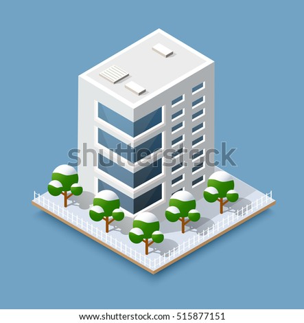 Christmas 3d house in the winter forest. Isometric building in the natural landscape.