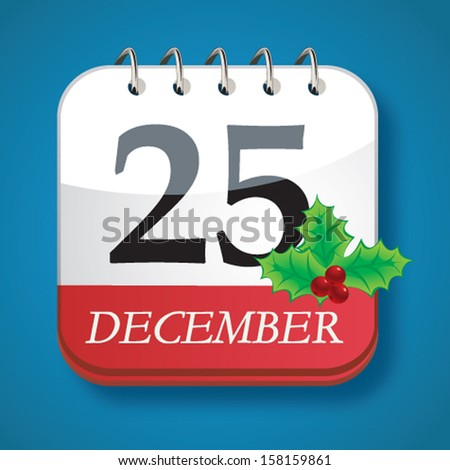 christmas day calendar - stock vector