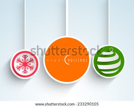 Christmas Day sticker, tag or label decorated with snowflake, X-mas ball and stylish text on blue background.    - stock vector