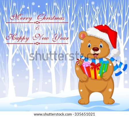 Christmas day with Bear cartoon holding birthday gifts  - stock vector