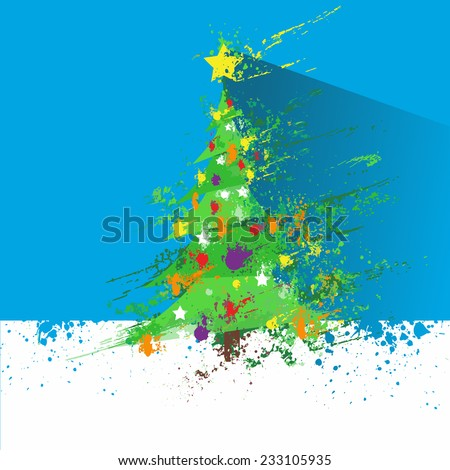 christmas decorated tree abstract ink splash paint white blue background with long shadow flat icon design holiday vector illustration - stock vector