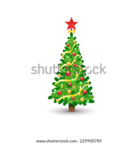 christmas decorated tree isolated over white background holiday vector illustration - stock vector