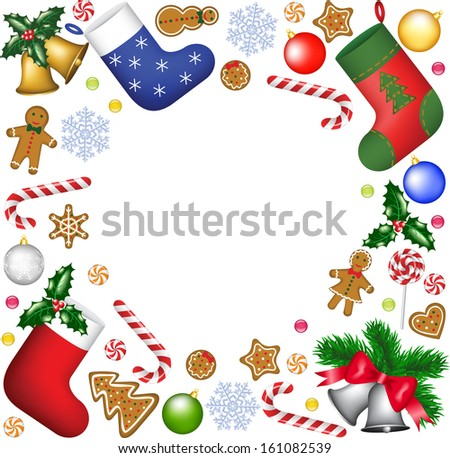Christmas decoration and sweets frame - stock vector