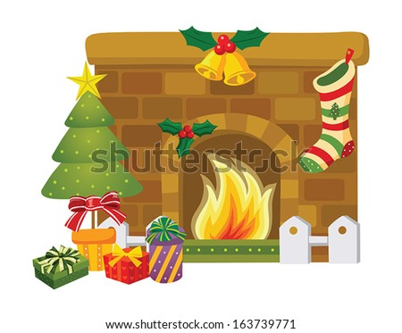 Christmas decoration around the fireplace - stock vector