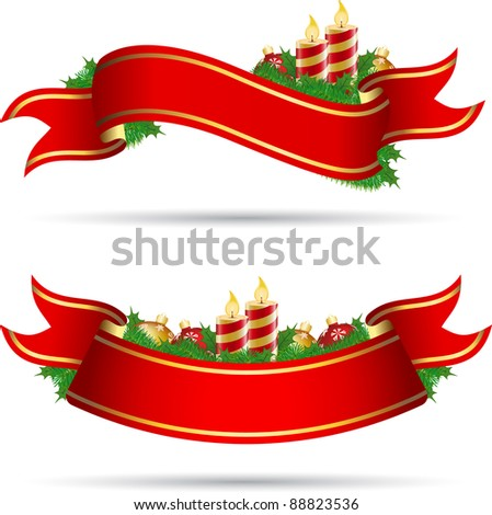 Christmas decoration banner with baubles and candles - stock vector