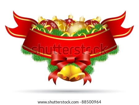 Christmas decoration banner with baubles, bell and bow - stock vector