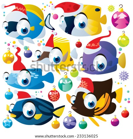christmas decoration cartoon animal fish set isolated - stock vector