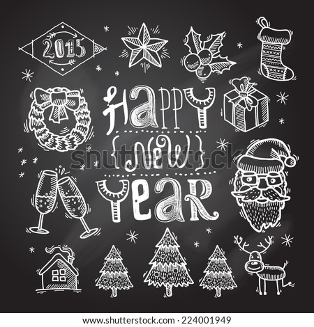 Christmas decoration chalkboard icons set with santa claus wreath star isolated vector illustration - stock vector