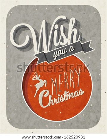 Christmas decoration collection for postcards and other Christmas design. Retro vintage style christmas typographic and calligraphic symbols for greeting cards design. Vintage, grungy, worn background - stock vector