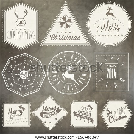 Christmas decoration collection for postcards and other Christmas design. Vintage style christmas typographic and calligraphic symbols for greeting cards design. Christmas and New Year stamp design - stock vector