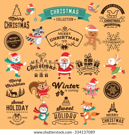 Christmas decoration collection of calligraphic and typographic design with labels, icons elements. Set of cute cartoon characters. - stock vector