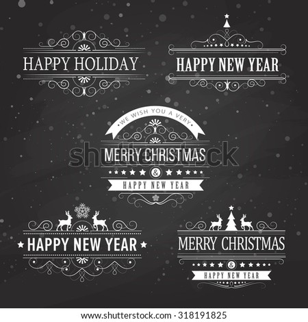Christmas decoration collection of calligraphic and typographic elements on black with frames, vintage labels. Ribbons, stickers, Santa and angel. Hand drawn christmas balls, fur tree branches and - stock vector
