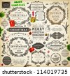 Christmas decoration collection | Set of calligraphic and typographic elements, frames, vintage labels. Ribbons, stickers, Santa and angel. Hand drawn christmas balls, fur tree branches and gifts. - stock photo