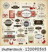 Christmas decoration collection | Set of calligraphic and typographic elements, frames, vintage labels. Ribbons, stickers, Santa and snowman, cartoon deer, birds, gifts, tree, bows, cards and baubles - stock vector