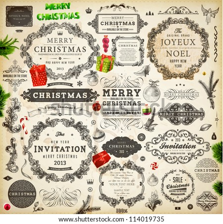 Christmas decoration collection | Set of calligraphic and typographic elements, frames, vintage labels. Ribbons, stickers, Santa and angel. Hand drawn christmas balls, fur tree branches and gifts.
