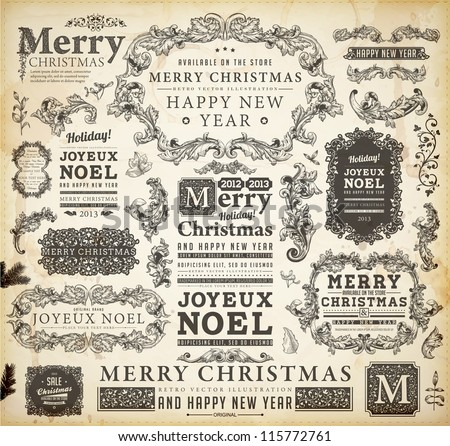 Christmas decoration collection | Set of calligraphic and typographic elements, frames, vintage labels, ribbons, borders, holly berries, fir-tree branches and balls. All for holiday invitation design.