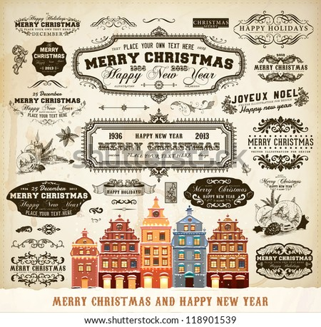 Christmas decoration collection | Set of calligraphic and typographic elements, frames, vintage labels. Ribbons, frames, mistletoe, fir cones, candles and winter town for old Xmas design. - stock vector