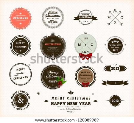 Christmas decoration collection | Set of calligraphic and typographic elements, frames, vintage circle labels, ribbons, borders, holly berries and snowflakes. All for holiday invitation design. - stock vector