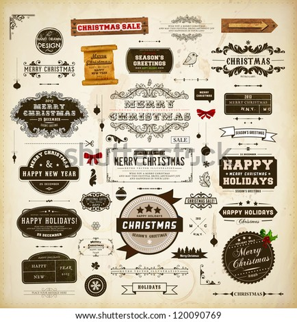 Christmas decoration collection. Set of calligraphic and typographic elements, frames, vintage labels. Ribbons, stickers, mistletoe, hand drawn bird, wooden sign, scroll and ribbon bows - all for Xmas - stock vector