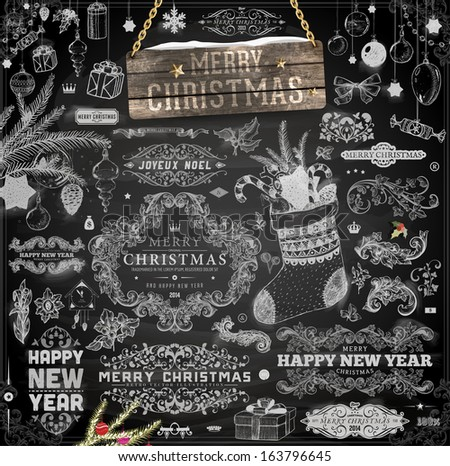 Christmas decoration collection | Set of calligraphic and typographic elements, frames, vintage labels. Ribbons, stickers, birds, tree branches, balls. Chalkboard design. Chalk texture. - stock vector