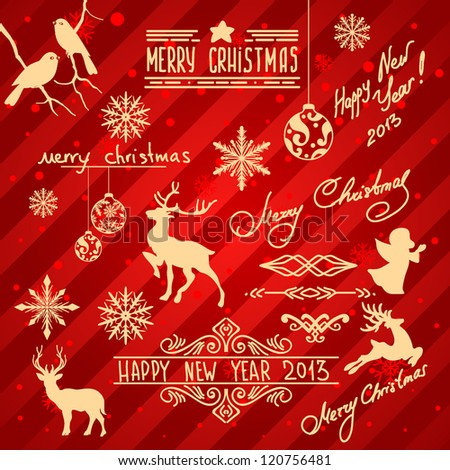 Christmas decoration collection, Set of  elements, frames birds , deer, snowflakes, balls - all for design. - stock vector