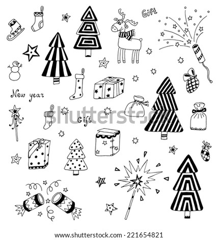 Christmas decoration collection. Set of graphic elements. Toys, hand drawn gifts, engraving fur-trees, deer and gifts socks. New Year vector.  - stock vector