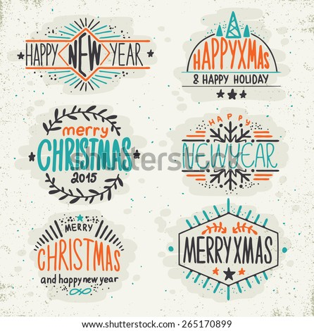 Christmas decoration collection. Set of labels and badges - stock vector