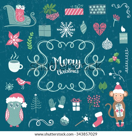 Christmas decoration collection. Vector illustration, isolated decorative elements. Merry Christmas lettering. - stock vector
