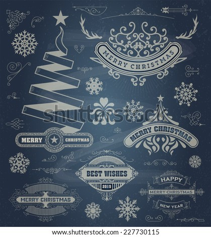 Christmas decoration design elements. Merry Christmas and happy holidays wishes. Vintage labels, frames, ornaments and ribbons, set over chalkboard - stock vector