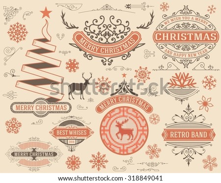 Christmas decoration design elements. Merry Christmas and happy holidays wishes. Vintage labels, frames, ornaments and ribbons. - stock vector