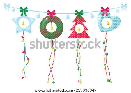Christmas decoration garland with ribbons and bells. - stock vector