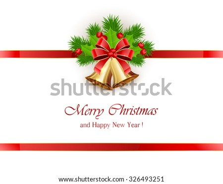 Christmas decoration, golden bells with bow, red ribbon and Holly berries on white background, illustration.