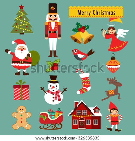 Christmas decoration icons, illustration and elements - stock vector