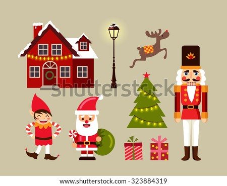 Christmas decoration icons, illustration and elements set. - stock vector