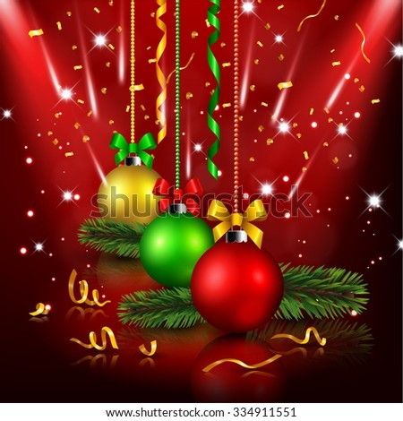 Christmas decoration in red background - stock vector