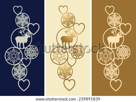 Christmas decoration in three colors with stars and reindeer - stock vector