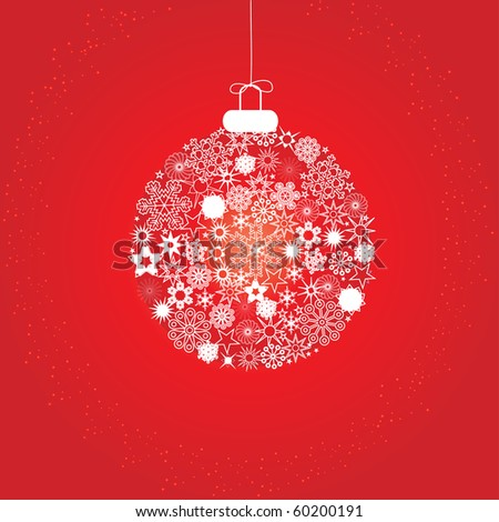 Christmas decoration made from red and white snowflakes, vector illustration - stock vector