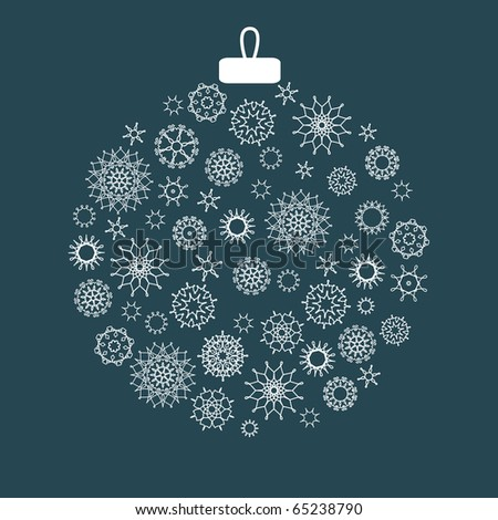 Christmas decoration made from snowflakes - stock vector