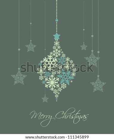 Christmas decoration made from snowflakes, vector illustration - stock vector