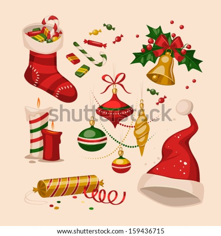 Christmas decoration objects. Vector illustration. - stock vector