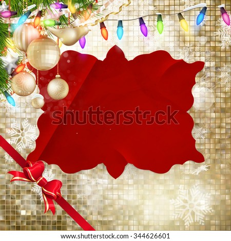 Christmas decoration on gold magic mosaic. EPS 10 vector file included - stock vector