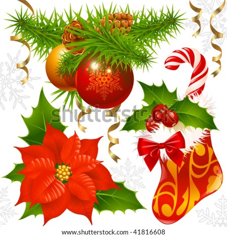 Christmas decoration set 2 - stock vector