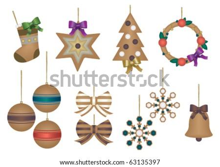 Christmas decoration set - stock vector