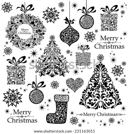 Christmas decoration set - lots of calligraphic elements, bits and pieces to embellish your holiday layouts. Seamless Christmas background. Merry Christmas wallpaper. Vector illustration  - stock vector