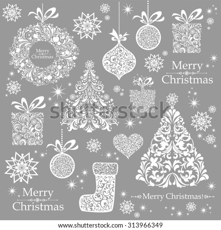 Christmas decoration set - lots of calligraphic elements, bits and pieces to embellish your holiday layouts. Christmas background. Merry Christmas wallpaper. Vector illustration  - stock vector