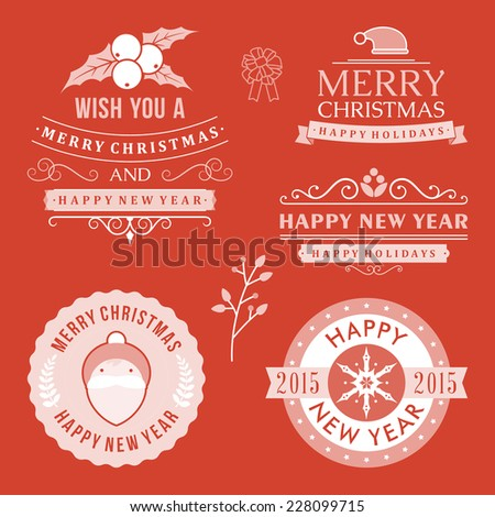 Christmas decoration set of design elements, labels, symbols, icons, objects and holidays wishes - stock vector